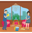couple cleaning home vector image