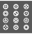 White gears icon set with shadows vector image vector image