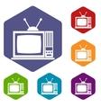 Retro TV icons set vector image