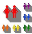 lesbian family sign set of red orange yellow vector image