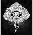 vintage eye in clouds traditional flash tattoo vector image