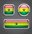 Ghana flag glass buttons vector image vector image