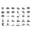 thirty weather solid icons vector image