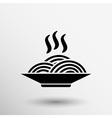 Single black silhouette icon bowl with ramen vector image