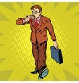 Business man drinking coffee on the go vector image