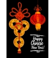 Chinese New Year card with red lantern gold coins vector image