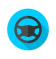 Driving wheel simple flat round icon vector image