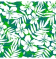 Green and white tropical flowers silhouettes vector image