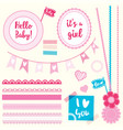 set elements hello baby girl vector image