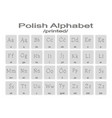 set of monochrome icons with polish alphabet vector image