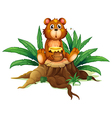 A bear with honey above a trunk vector image vector image