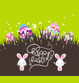 easter eggs and bunny with grass vector image
