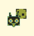 pixel owl head with talk cloud vector image