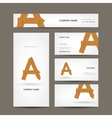 Business cards collection wooden letter A vector image