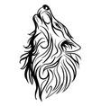 wolf head howl design tribal tattoo vector image