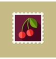 Cherry flat stamp with long shadow vector image