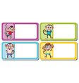 Square lables with cute monkeys vector image vector image