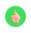 abstract origami hand on green circle vector image