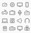 device and multimedia symbol line icon vector image