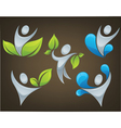 ecological people on dark brown background vector image