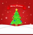 Merry Christmas background with tree and snowflake vector image
