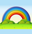 rainbow over the green park vector image