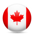Round glossy icon of canada vector image
