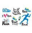 running man marathon logo jogging emblems label vector image