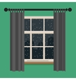 Window with view of the winter landscape vector image