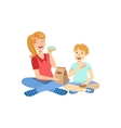 Mother And Child Eating Doughnuts Together vector image