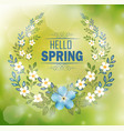floral frame with text hello spring vector image