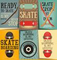 skateboard posters set vector image vector image