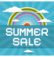 Summer Sale Retro with Rainbow Clouds and Sun vector image