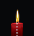 Advent candle red 15 vector image