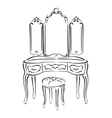 Sketched retro dressing table vector image
