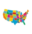 Colorful USA map with states icon vector image
