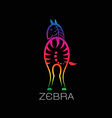 images of zebra on a black background vector image vector image
