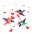 birds with hearts in beak and envelope flying vector image
