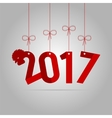 card new year red rooster 2017 vector image