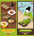isometric sushi bar banners vector image