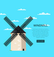 stony old windmill on blue sky background vector image