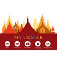 myanmar landmarks skyline with accommodation icons vector image