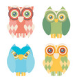 set of four owls isolated on white background vector image