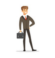 smiling successful businessman with briefcase vector image vector image