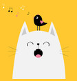 white cat face silhouette bird on head meowing vector image