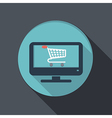 flat icon monitor with symbol shopping cart vector image