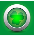 metal button with the green shamrock vector image