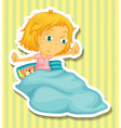 Little girl in bed waking up vector image vector image