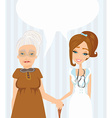 an elderly lady at the doctor in practice vector image