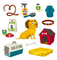 Dog care object set items and stuff cartoon vector image